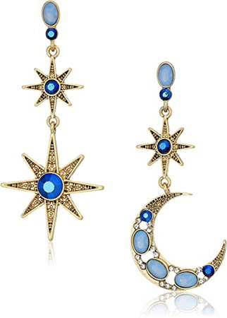 Betsey Johnson Mystic Baroque Queens Blue and Gold Moon and Star Drop Earrings: Jewelry
