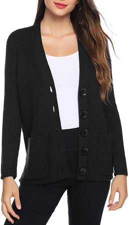Aibrou Women Cardigan Sweater Short Casual Long Sleeve Button Knit Cardigans Yellow at Amazon Women's Clothing store
