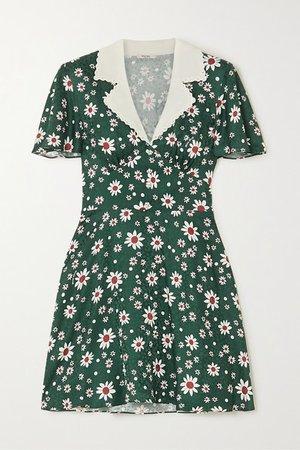 Miu Miu | Crystal-embellished floral-print silk mini dress | NET-A-PORTER.COM