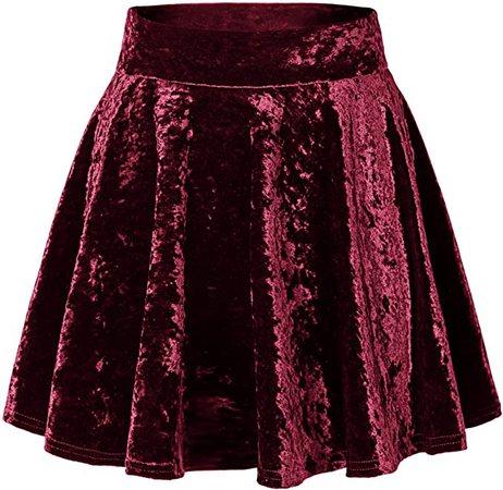 Urban CoCo Women's Vintage Velvet Stretchy Mini Flared Skater Skirt (XL, Burgundy) at Amazon Women's Clothing store