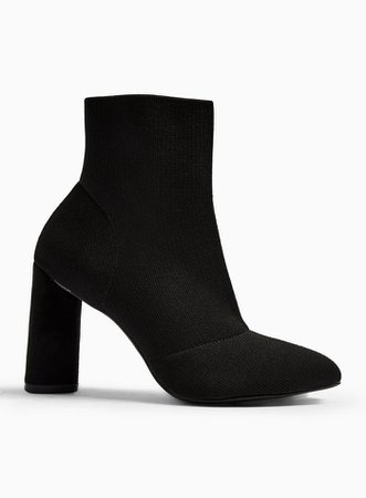 BOBBI Black Knit Stretch Ankle Boots | Miss Selfridge
