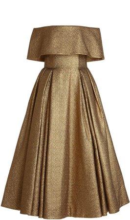 Emilia Wickstead Glowie Off-The-Shoulder Metallic Dress