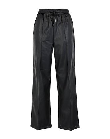 Topshop Black Straight Leg Pu Trousers - Casual Pants - Women Topshop Casual Pants online on YOOX United States - 13548662LB