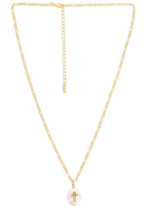 Natalie B Jewelry Pearl of Love Cross Necklace in Gold | REVOLVE