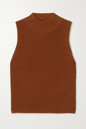 Brown Montaigne ribbed organic cotton turtleneck top | Reformation | NET-A-PORTER