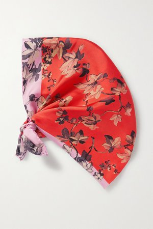 Orange Floral-print silk-twill scarf | Dries Van Noten | NET-A-PORTER
