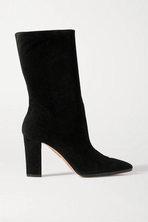 Black Skyler suede boots | Aquazzura | NET-A-PORTER
