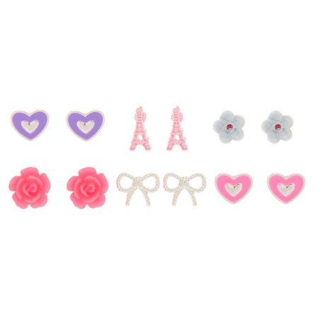 Parisian Love Stud Earrings - Pink, 6 Pack   Claire's US