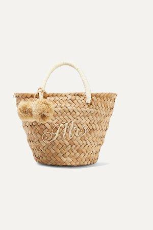 Sand St Tropez mini pompom-embellished embroidered woven straw tote | Kayu | NET-A-PORTER