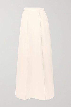 Paneled Twill Maxi Skirt - White