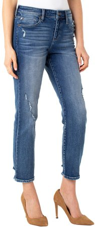 Distressed Ankle Straight Leg Jeans