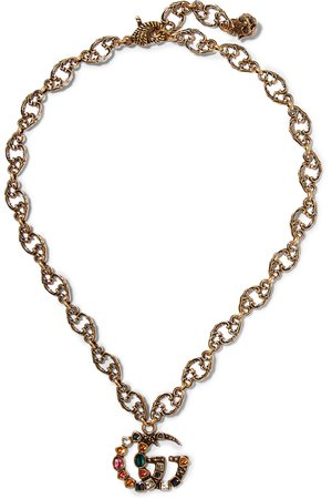Gucci | Burnished gold-tone crystal necklace | NET-A-PORTER.COM