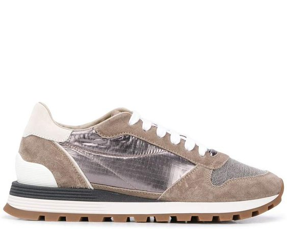 Metallic Lace-Up Trainers