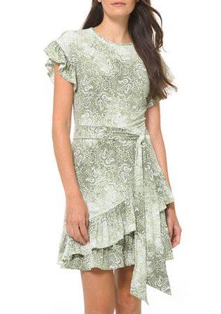 MICHAEL Michael Kors Women's Paisley Ruffle Wrap Dress