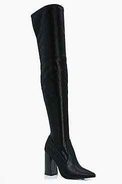 Rachel Stretch Satin Pointed Over The Knee Boots