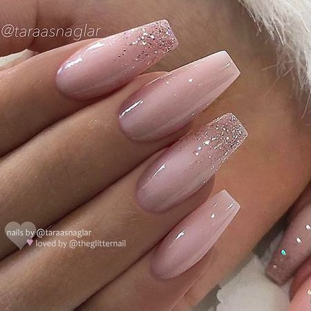 Pinterest - ✨ REPOST *Werbung (unbezahlt)/advertising (unpaid) - - • - - Milky Pink with Glitter Ombre on Coffin... #yooying | All About The NAILS