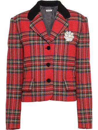 Miu Miu tartan-check Wool Jacket