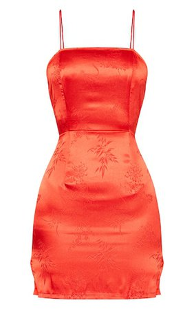 Red Satin Oriental Bodycon Dress