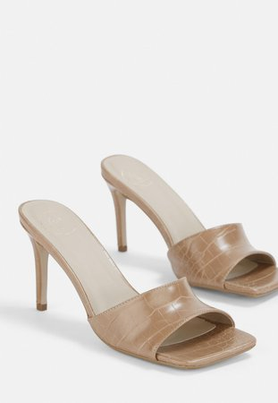 Nude Croc Effect Squared Toe Mules | Missguided