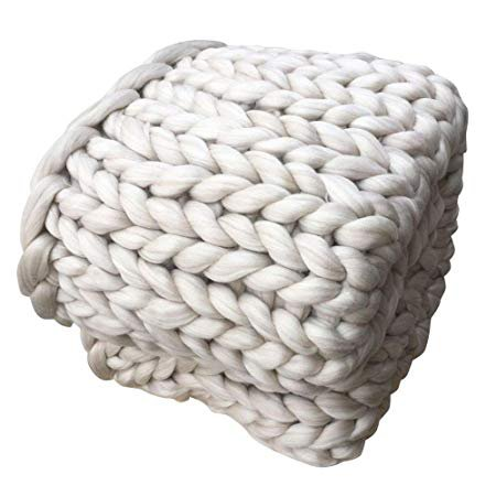 "Amazon.com: FTXJ Chunky Thick Yarn Knitted Throw Blanket Bulky Knit Warm Quilt for Couch / Sofa/ Chair (Beige, 39.4""x47.2""): Home & Kitchen"