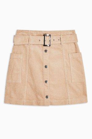 Ecru Corduroy Button Down Belted Mini Skirt | Topshop