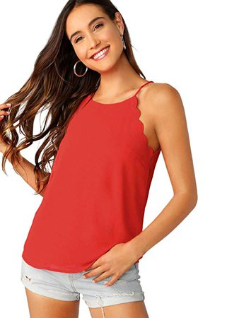 Verdusa Women's Casual Sleeveless Keyhole Back Scallop Halter Cami Top Pink M at Amazon Women's Clothing store