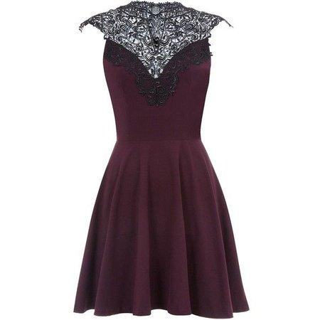 Dark Purple w/ Black Lace Skater Dress