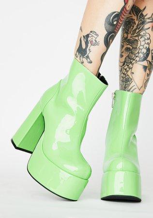 Current Mood Green Patent Platform Ankle Boots   Dolls Kill