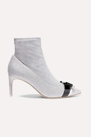 Andie Bow Leather-trimmed Glittered Stretch-knit Ankle Boots - Silver