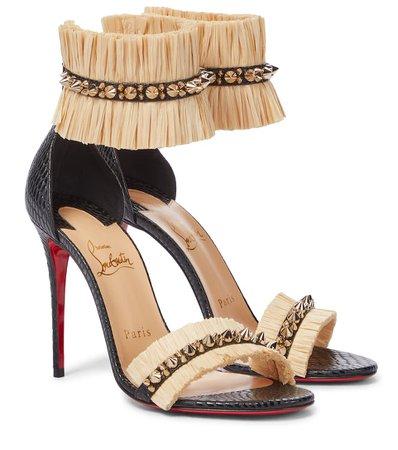 Christian Louboutin - Poupedou raffia and leather sandals | Mytheresa