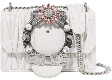 Miu Lady Crystal-embellished Matelassé Leather Shoulder Bag - White