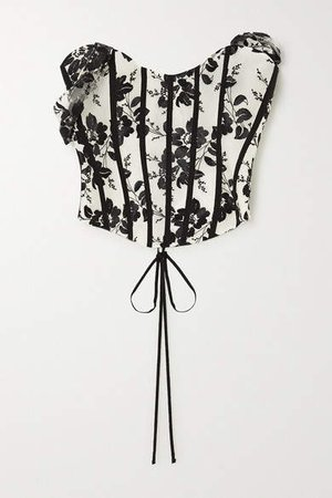 Grosgrain-trimmed Embroidered Tulle Bustier Top - Black