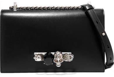 Jewelled Satchel Embellished Leather Shoulder Bag - Black