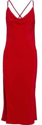 Draped Silk Midi Slip Dress