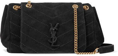 Nolita Medium Quilted Suede Shoulder Bag - Black