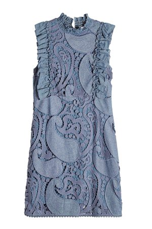 Crochet Embroidered Denim Dress Gr. FR 40