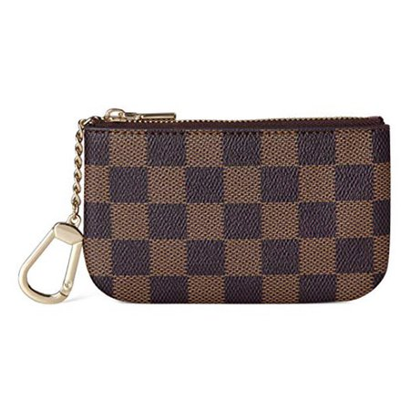 Daisy Rose - Daisy Rose Luxury Zip Checkered Key Chain pouch | PU Vegan Leather Mini Coin Purse Wallet with clasp - Walmart.com - Walmart.com
