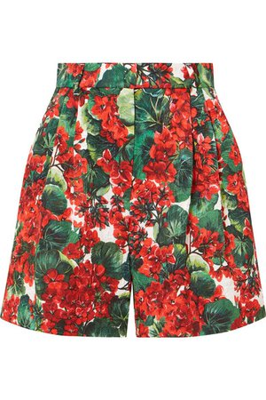 Dolce & Gabbana | Pleated floral-print cotton-blend poplin shorts | NET-A-PORTER.COM