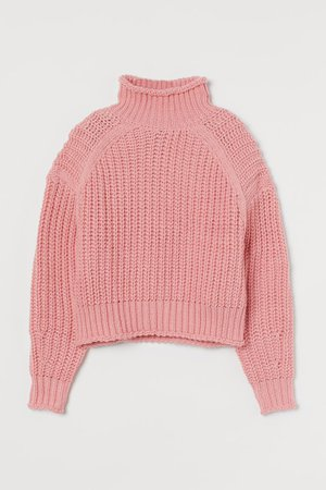 Ribbed polo-neck jumper - Old rose - Ladies   H&M GB