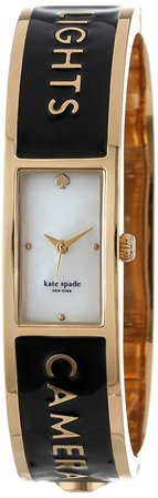 """Amazon.com: kate spade new york Women's 1YRU0206 """"Lights Camera Action"""" Carousel Gold-Plated Stainless Steel Watch: Clothing"""