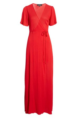 Lulus Much Obliged Wrap Maxi Dress | Nordstrom