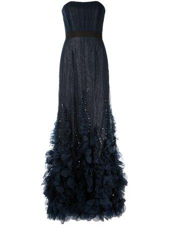 Marchesa Notte ruffle-trim Strapless Gown - Farfetch