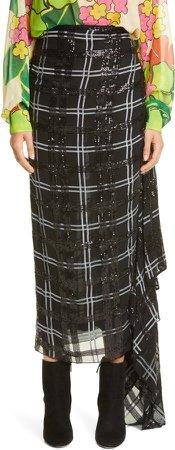 Savin Sequin Plaid Asymmetrical Drape Skirt