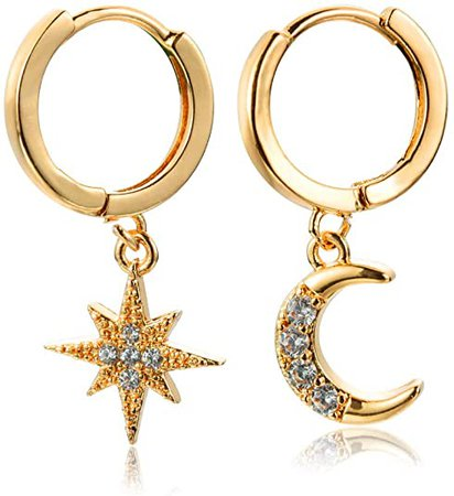 Amazon.com: Small Dangle Hoop Earrings, Gold Silver Star Moon Earrings made of Zinc Alloy with Trendy Style for Women Ear Piercing Simple Jewelry, 1 Pair: Jewelry
