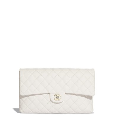 Clutch, grained calfskin & gold-tone metal, white - CHANEL