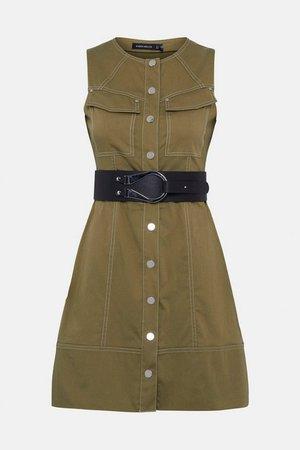 Contrast Stitch Utility A Line Dress   Karen Millen
