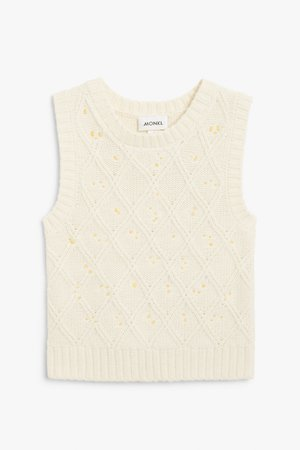 Embroidered knit vest - Cream with embroidered daisies - Knitted tops - Monki