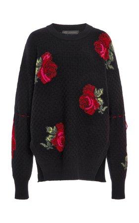 Versace Rose-Knit Oversized Wool-Blend Sweater