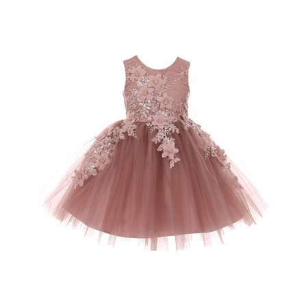 Cinderella Couture - Little Girls Mauve 3D Floral Appliques Soft Tulle Easter Flower Girl Dress - Walmart.com