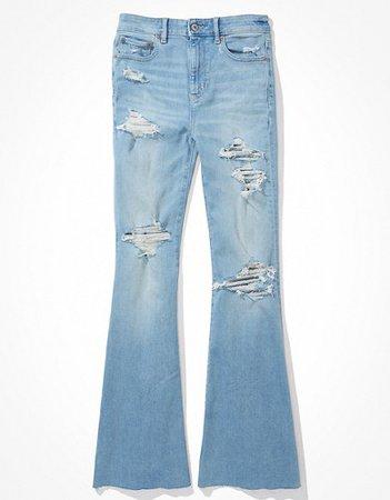 AE Super High-Waisted Flare Jean blue